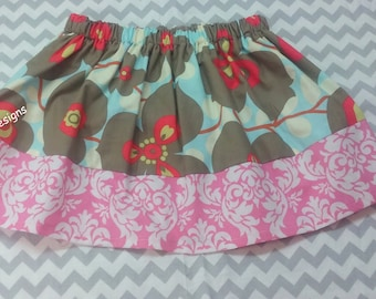 SUMMER CLEARANCE SALE Gray Morning Glory skirt size 3t Ready to Ship