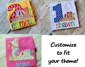 Beach theme birthday shirt. Personalized. Sizes 12m to youth M. Other shirt colors available.