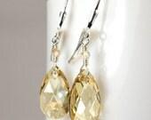Yellow Champagne Crystal Earrings, Sterlin Silver, Swarovski Teardrop Dangle, Bridesmaid Wedding Jewelry, November Birthday, Birthstone Gift