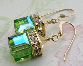 Green Cube Earrings, Peridot, Gold Filled, Apple Swarovski Crystal, Wedding Bridesmaid Jewelry, Handmade, Birthstone August Birthday, Dangle