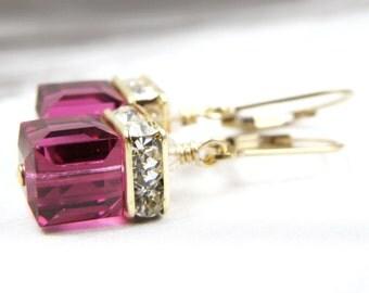 Ruby Crystal Earrings, Fuchsia Swarovski Gold Filled, Magenta Wedding Jewelry, Bridesmaid Gift, July Birthstone, Birthday, Ready to Ship