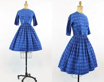 50s Cotton Dress Small / 1950s Vintage Mid Century Print Dress / Sailing Blue Dress
