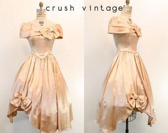 40s Dress Liquid Satin Small / 1940s Vintage Dress Off Shoulder / Midnight in Paris Dress