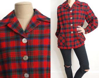 Vintage Plaid Pendleton 100% Virgin Wool Shirt or Jacket // 1950s 1960s red green blue black 50s 60s small medium large S M L