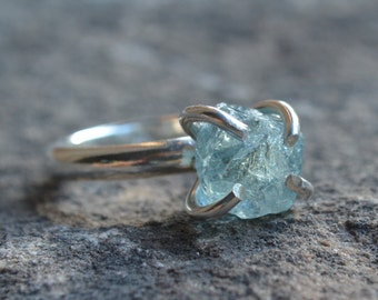 Raw Aquamarine Ring Sterling Silver Size 6 1/2