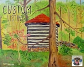 Custom Painting Rustic Log Barn Reserved for KIM Original Acrylic on Canvas Fine Art Rural Scene