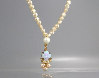 Beaded Pearl Necklace, Freshwater Pearl Necklace, Opal Pedant Necklace, Beadwork Necklace, Statement Necklace, Gift for Her, Pearl Jewelry