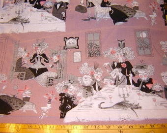 Fabric Alexander Henry Ghastlie Night mauve Victorian gothic witches eating knitting RARE 2 yards, 8 inches piece