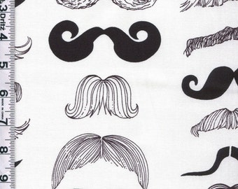 Fabric Alexander Henry Where's my Stache mens mustache steam punk movember moustache on white 10 inches piece