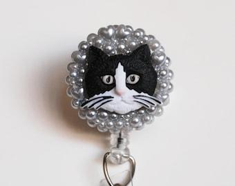 Big Head Cat ID Badge Reel - Retractable ID Badge Holder - Zipperedheart