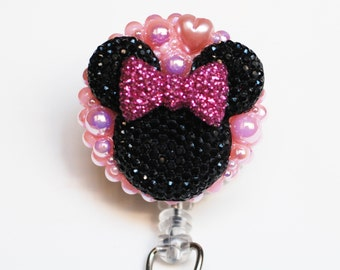 Minnie Mouse Shimmery Black Silhouette With Pink Bow ID Badge Reel - Retractable ID Badge Holder - Zipperedheart