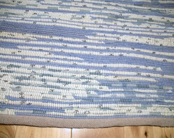 37 inch long Blue and White Hand Loomed Recyled Rag Rug No Fringe Hand Woven Rag Rug Upcycled Rag Rug