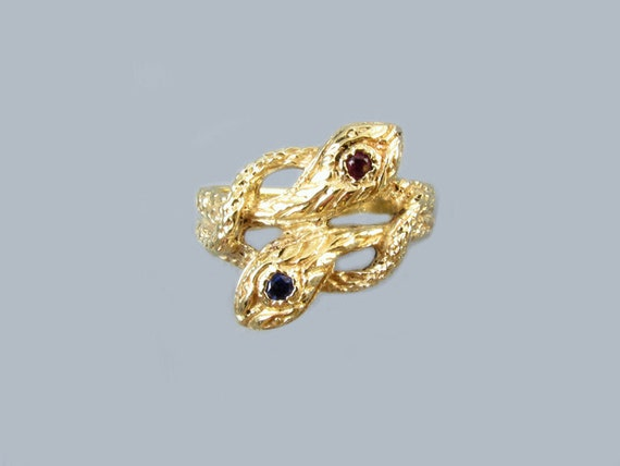 Vintage estate double snakes 10k gold sapphire garnet bypass style ring, size 7