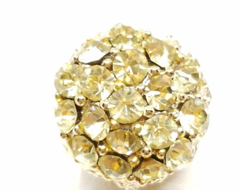 Beautiful  Pale Yellow Rhinestone Vintage Ring Adjustable