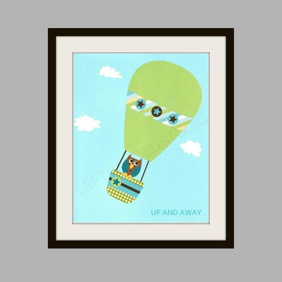 FREE SHIPPING- Nursery Art Print, Kids Room Decor,Hot Air Balloon, Owl, Baby Shower, Baby Boy, 8x10 Art Print, Personalized