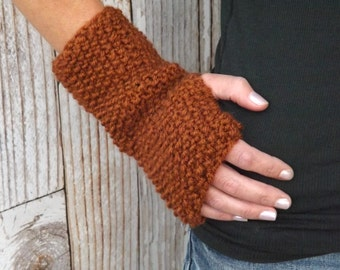 Brown Fingerless Gloves - Knit Fingerless Mitts - Texting Gloves - Texting Mitts - Knit Fingerless Gloves - Winter Accessory