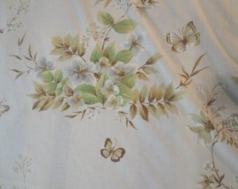 "SALE Vintage Flat Sheet Floral and butterflies pale blue background green tan grey design 80 x 54"" fits a queen"