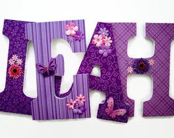 nursery wood letters flower butterfly wall letters purple letters girls wall decor wooden wall letters purple butterfly bedroom