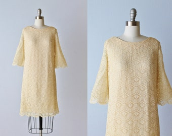Vintage 1960s Lace Sheath Dress / Off White Lace Dress / 1960s Dress