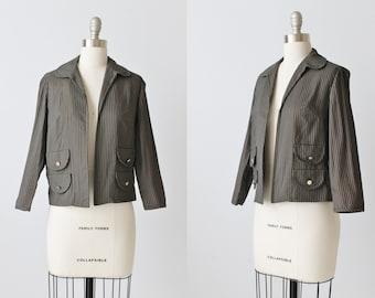 Vintage 1960s Seersucker Cropped Jacket Blazer / Preppy / Black and Brown / Military