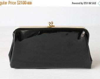 SALE Vintage Black Patent Leather Clutch Purse Handbag / Evening Bag