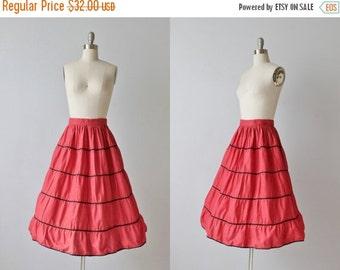SALE Red Mexican Circle Skirt / Red Full Skirt / 1950s Patio Skirt / 50s Skirt