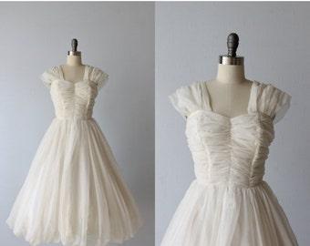 SALE 1960s Dress / Chiffon Dress / White / Bubble Hem / Formal Dress / Swan