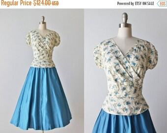 SALE Vintage 1950s Dress Set / 50s Novelty Print Matching Blouse and Skirt / Full Skirt / Lilacs