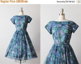 SALE Vintage 1950s Chiffon Party Formal Dress / 50s Dress / Floral Watercolor Print / Size Medium