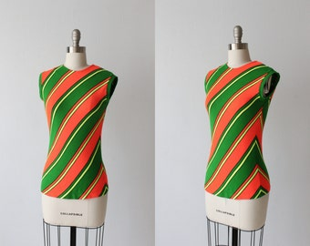 Vintage 1960s Orange and Green  Sleeveless Shell Top Sweater /  Zipper Back / Size Small