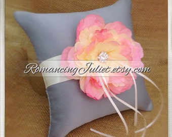 Romantic Bloom Ring Bearer Pillow with Crystal Rhinestone Accents..shown in silver gray/ivory/blush pink