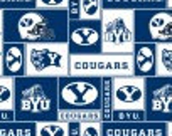SALE - 2 1/2 Yards - Blanket Cut - Brigham Young University Fleece Fabric - BYU Cougars