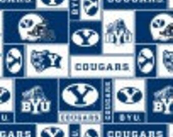 SUMMER SALE - 2 1/2 Yards - Blanket Cut - Brigham Young University Fleece Fabric - BYU Cougars