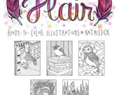 A Wing and a Flair - Adult Coloring Book - Birds with Accessories - Peacock - Pigeon - Flamingo - Chickadee - Owl