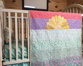 Crib Bedding, Sunset Quilt, Fitted Sheet, and Ruffled Skirt, Boy or Girl colors, modern babies