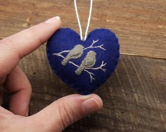 First Christmas Together / Bird Silhouette / Felt Heart Ornament