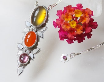 Floral Three Stone Necklace/ Floral Necklace/ Leaves and Flowers/ Indonesian Amber/ Pink Tourmaline/ Long Pendant/ Pink and Orange Necklace