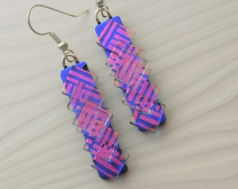 Chandelier Earrings - Prism - Crystal Earrings - Sterling Silver - Dichroic Fused Glass Earrings - Fused Glass - Dichroic Jewelry 2774