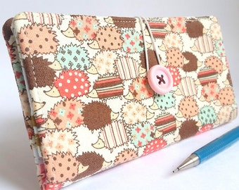 Linen CHECKBOOK COVER in Cute Hedgehogs Fabric - Tiny Hedgehogs