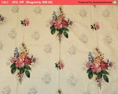 Summer SALE- Vintage Barkcloth Curtains Roses Pair