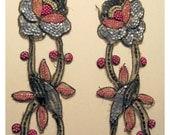 Winter SALE - Vintage Beaded Appliques Art Deco Roses