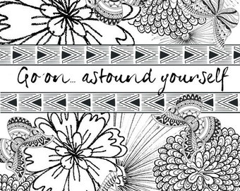 Coloring page: Go on... Astound yourself! Boho butterflies and flowers to color as you dream and plan