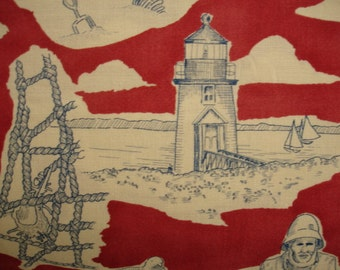 "KNITTING BAG APRON - Made to Order - Alexander Henry 2000 rare ""seaside toile"" - Please allow 3 weeks for delivery"