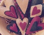 Set of 6 Primitive Folk Art Heart Bowl Filler Ornaments
