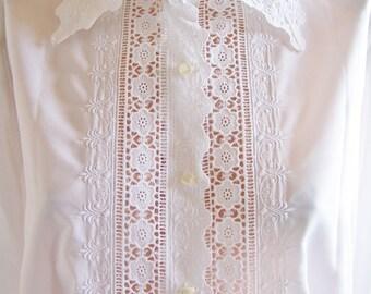 Plus size, Designer Lace Blouse, Long sleeve Blouse, Fancy white Blouse, Feminine Blouse, size XL / 2X