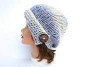 Knit Cloche - Pierre Hat - Chunky Beanie With Button - Sparkle Cloche - 1920s Cloche Hat - Women's Hat - Knit Accessories