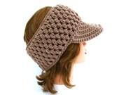 Crochet Sun Visor - Women's Headband With Brim - Taupe Ear Warmer - Visor Head Wrap - Brimmed Headband - Crochet Accessories