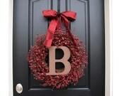 Wreath, Personalized HOLIDAY Wreaths, WEDDING Wreaths, Holiday Door Wreaths, Holiday Berry Wreaths, Custom Holiday Wreaths, Red Berry Wreath