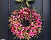 Pink Tulips, Front Door Tulip Wreath, Tulip Wreath for Door, Door Wreath Tulips, Pink Tulips Door Wreaths