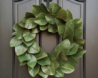 Magnolia Wreath, Fixer Upper Magnolia Wreath,  Magnolia Leaf Wreath, Year Round Magnolia Wreath, Green Magnolia, Realistic Magnolia Wreath